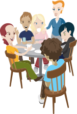 Illustration of people sitting around a table