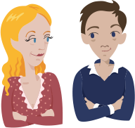 Illustration of a woman and a man