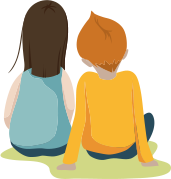 Illustration of a mother and a son from behind